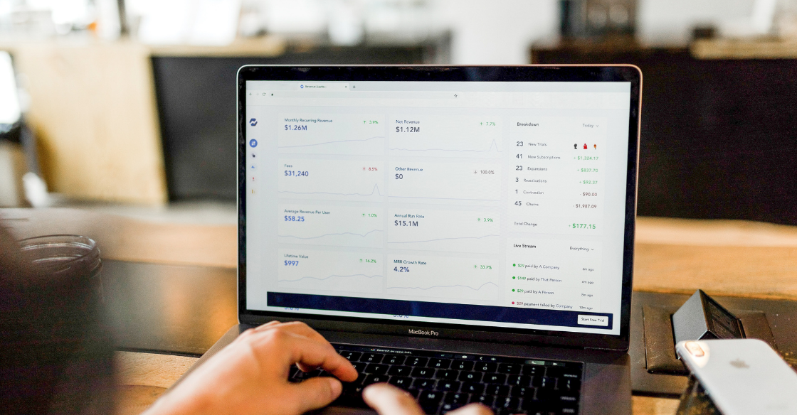 Revenue data on a payment integration system dashboard.